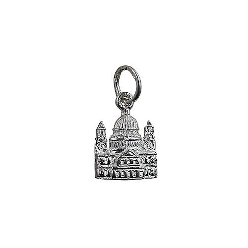 Silver 11x10mm solid St. Paul's Cathedral Pendant or Charm