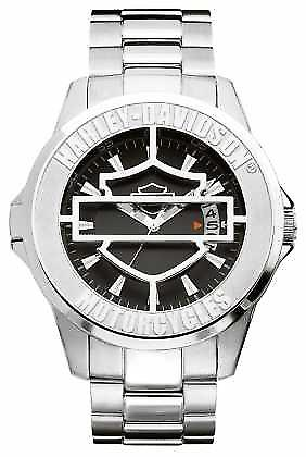 Harley Davidson Mens Black Patterned Dial With Hinged Cover 76B143 Watch