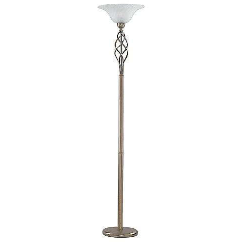 Searchlight 6021AB Zanzibar Zanzibar Antique Brass Floor Lamp With Marble Glass