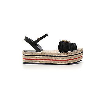 Gucci Black Fabric Sandals