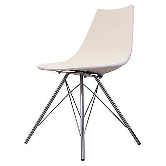Fusion Living Iconic White Plastic Dining Chair With Chrome Metal Legs Fusion Living Iconic White Plastic Dining Chair With Chrome Metal Legs Fusion Living Iconic