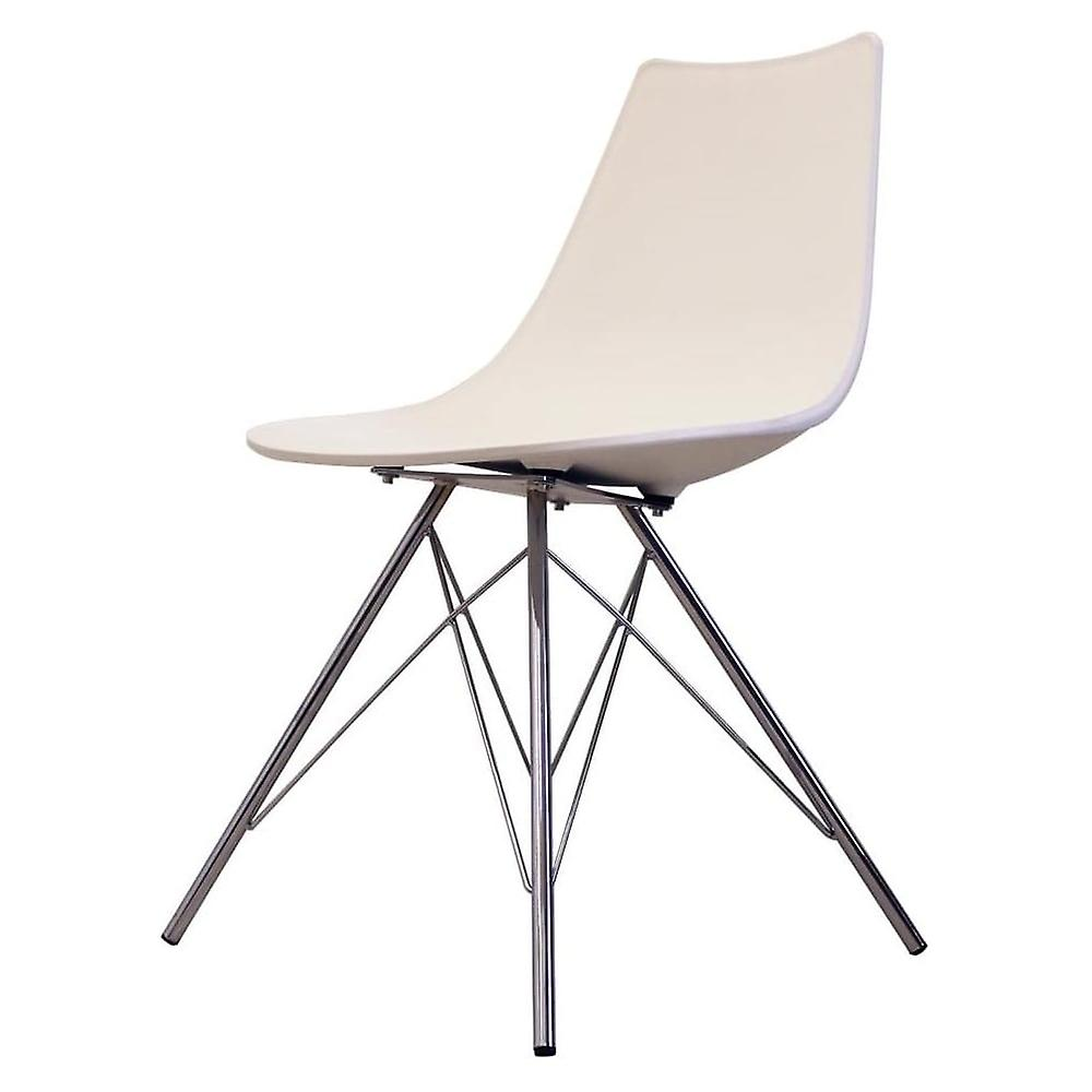 Fusion Living Iconic blanc Plastic Dining Chair With Chrome Metal Legs