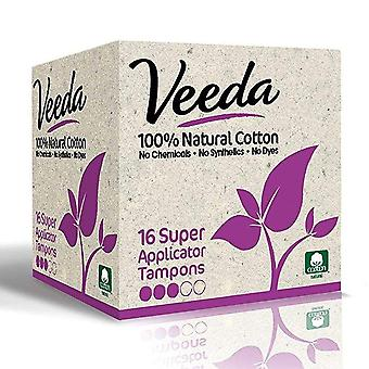Veeda natural cotton applicator tampons, super, 16 ea