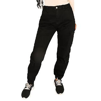 High Rise Cuffed Cargo Pants Utility Trousers