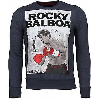 Rocky Balboa-rhinestone Sweatshirt-blå