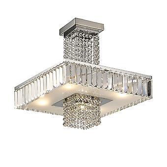 Diyas Ophelia Semi Ceiling 6 Light Polished Chrome/Crystal