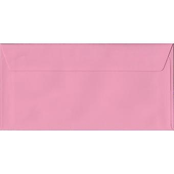 Pastel Pink Peel/Seal DL Coloured Pink Envelopes. 100gsm FSC Sustainable Paper. 110mm x 220mm. Wallet Style Envelope.