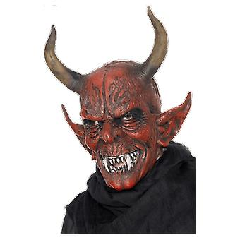 Smiffys Full Head Red Devil Mask With Horns Fancy Dress Costume