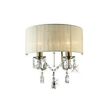 Diyas IL30064 Olivia Wall Lamp Switched With Ivory Cream Shade 2 Light Antique Brass/Crystal