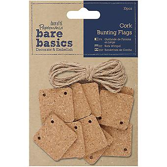 Papermania Bare Basics Cork Bunting/Pennant Flags 10/Pkg-Square PM174807