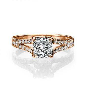 1 3/4 Carat G SI1 Diamond Engagement Ring 14k Rose Gold Split Shank Diamond Ring Princess Cut