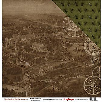 ScrapBerry de mechanische illusies OGO-zijdige Cardstock 12 x 12-Back To The Future 603207B