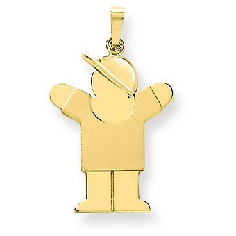 14k Gold Solid Engraveable Boy with Hat on Right Charm - 2.4 Grams