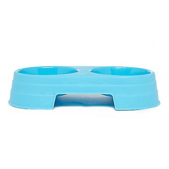 New Boyz Toys Double Food And Water Pet Feeding Bowl Blue