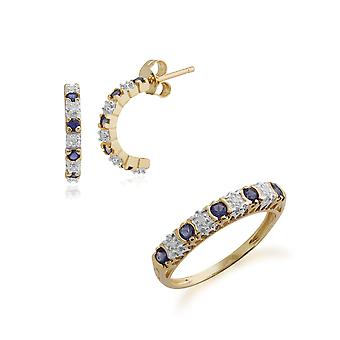 Gemondo 9ct Yellow Gold Iolite & Diamond Half Hoop Earring & Ring Set