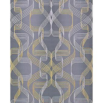Graphic wallpaper EDEM 507 26 structured foam vinyl wallpaper with abstract pattern and metallic accents basalt grey perl-gold silver 5.33 m2