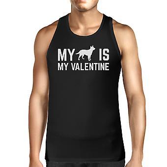 Mijn hond mijn Valentijn Mens Zwart Tank Top leuke afbeelding voor hondenbezitters