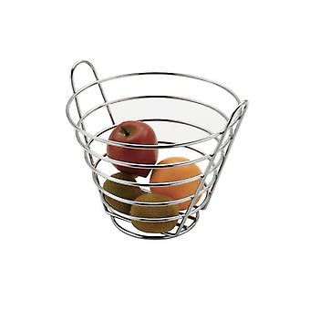 Chrome Metal Bucket Shaped Upright Fruit Basket