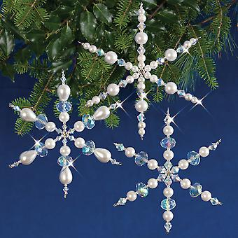 Holiday Beaded Ornament Kit-Sparkling Snowflakes Makes 3 HBOK-47366
