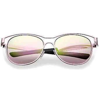 Lente a specchio colorato moderno telaio metallico aperto corno occhiali da sole cerchiati 56mm