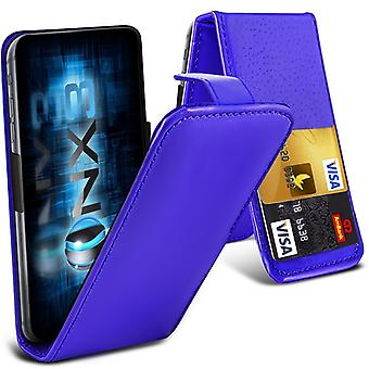 ONX3 (Blue) Nokia X2 Dual SIM Premium PU Leather Universal Spring Clamp Flip Case with Camera Slide and Card Slot Holder