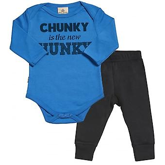 Spoilt Rotten Chunky Is New Hunky Babygrow & Jersey Trousers Outfit Set