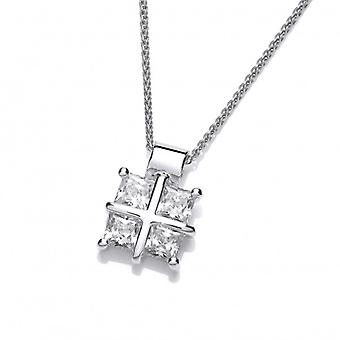 Cavendish French Silver and Cubic Zirconia Square Cross Pendant  without Chain