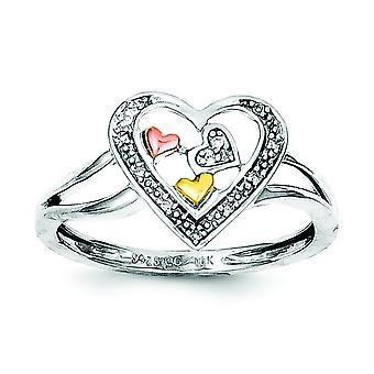 Sterling sølv poleret Rhodium-belagt og 14 k gul og Rose guld diamant hjerte Ring - Ring størrelse: 6-8