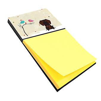Christmas Presents between Friends Wire Haired Dachshund Chocolate Sticky Note H