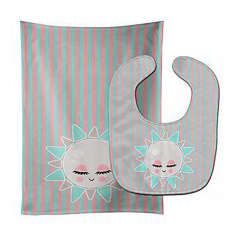 Carolines Treasures  BB8719STBU Sun Face Baby Bib & Burp Cloth