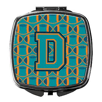 Letter D Football Aqua, Orange and Marine Blue Compact Mirror