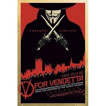 V For Vendetta Freedom Forever Poster Poster Print