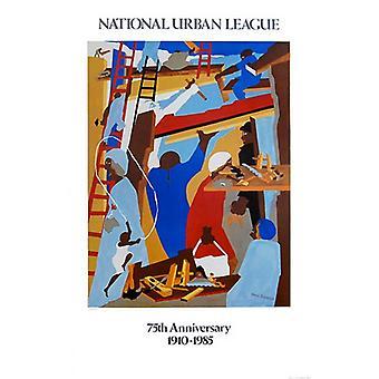 La impresión del cartel de constructores por Jacob Lawrence (23 x 35)