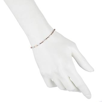 Rhodium Plated Sterling Silver Adjustable Beaded Bracelet w/ Modern Pink Tube Design Expandable 9.25 Inch