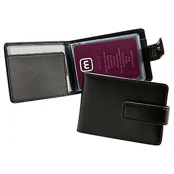 David Van Hagen Folding Leather Card Wallet - Black