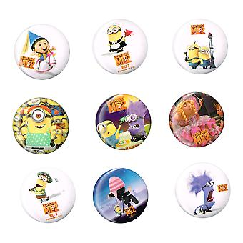 9 x Pin Badge | Medium Size Badges | DESPICABLE ME MINION | Ideal Party Bag Badges