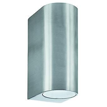 Silver Cylinder Dual LED Outdoor Wall Light Fixture - Searchlight 8008-2SS-LED
