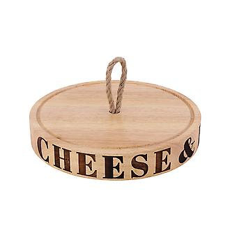 CGB Giftware Loft Cheese And Biscuits Carved Board With Rope