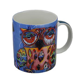 Allen Designs färgglada Owl keramisk kaffe kopp 10 oz.