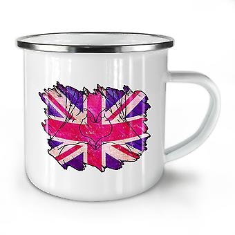 United Kingdom Heart NEW WhiteTea Coffee Enamel Mug10 oz | Wellcoda