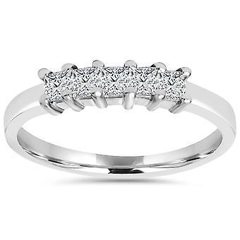 1 / 2ct Princess-Schliff Diamanten 14K Weißgold Ehering