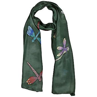 Invisible World Women's Hand-Painted 100% Silk Dragonfly Scarf