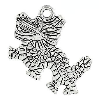 Packet 2 x Antique Silver Tibetan 37mm Dragon Charm/Pendant ZX07120