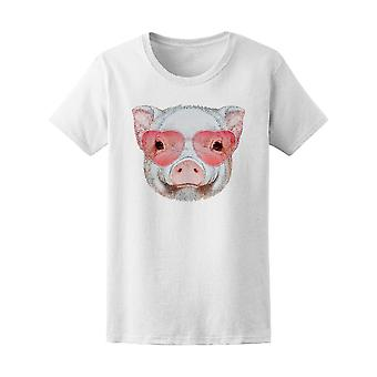 Pig With Heart Shaped Sunglasses Tee Women's -Image by Shutterstock