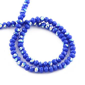 Strand 95+ Blue Czech Crystal Glass 4 x 6mm AB Faceted Rondelle Beads HA20060