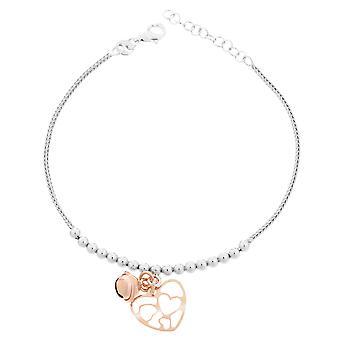 Orphelia Silver 925 Bracelet With Charm Heart White/Rose 18 + 2 Cm  ZA-7109