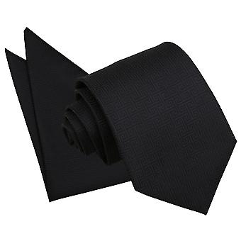 Black Greek Key Tie & Pocket Square Set