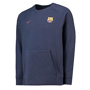 2018-2019 Barcelona Nike authentieke locatie Crew Sweatshirt (Obsidian)