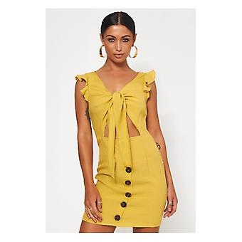 The Fashion Bible Lula Mustard Tie Front Button Dress