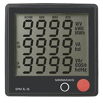 Digital rack-mount meter VOLTCRAFT EPM 1L-16 Voltage: 190 - 250 V/AC  current: 0 - 16 A  Cos-Phi: 0 - 1.00  Consumption: 0 - 3680 W